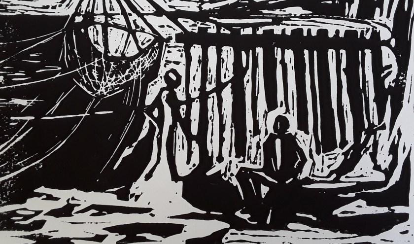 """Marja Verschoors Bretagne (linoleumsnede), van 26 oktober tot en met 17 november in het echt te zien tijdens de manifestatie """"Grafiek2019"""" bij de Voorschotense Kunstkring op de zolders van het Ambachts- en Baljuwhuis (Foto: VKK)"""