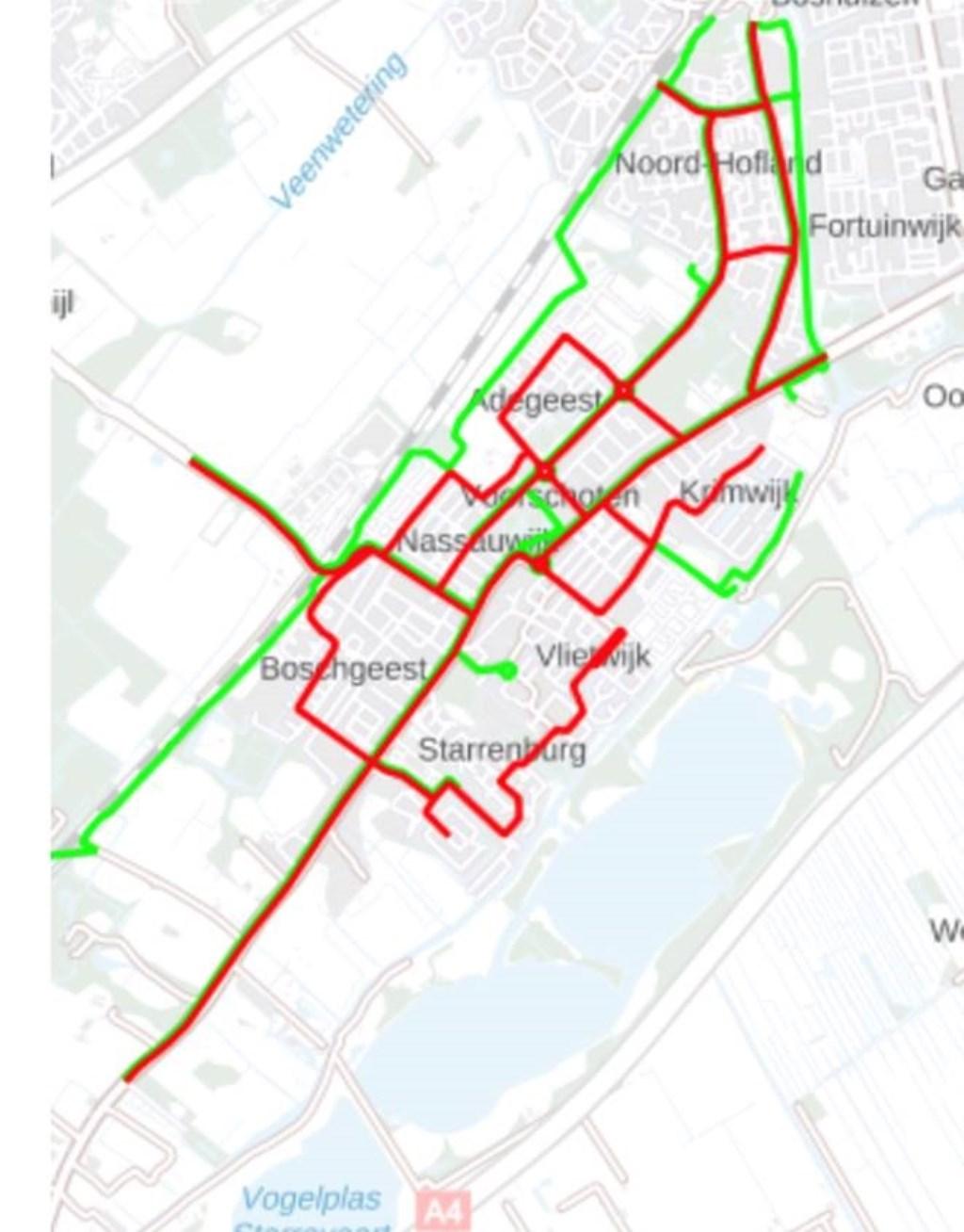 Strooiroutes: in het rood: de hoofdroutes, in het groen: de fietsroutes  © VSK