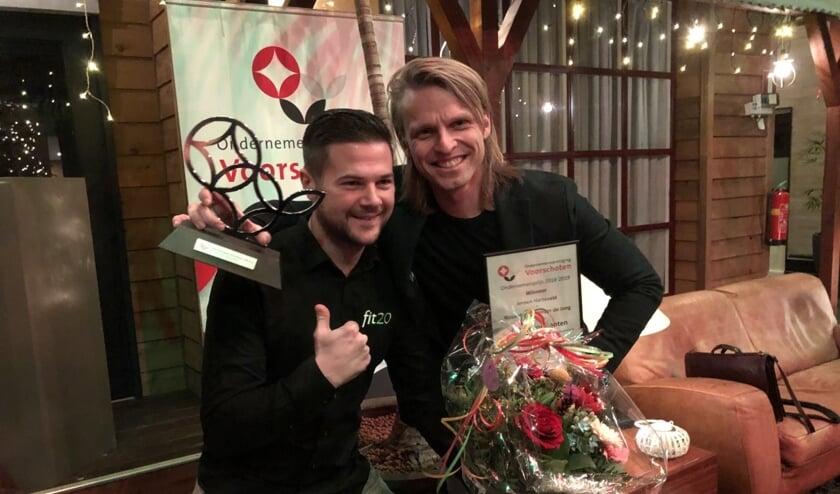 Jorick Voogel en Jeroen Harteveld van Fit20. Het bedrijf is ondernemer van het jaar. Foto's: VSK