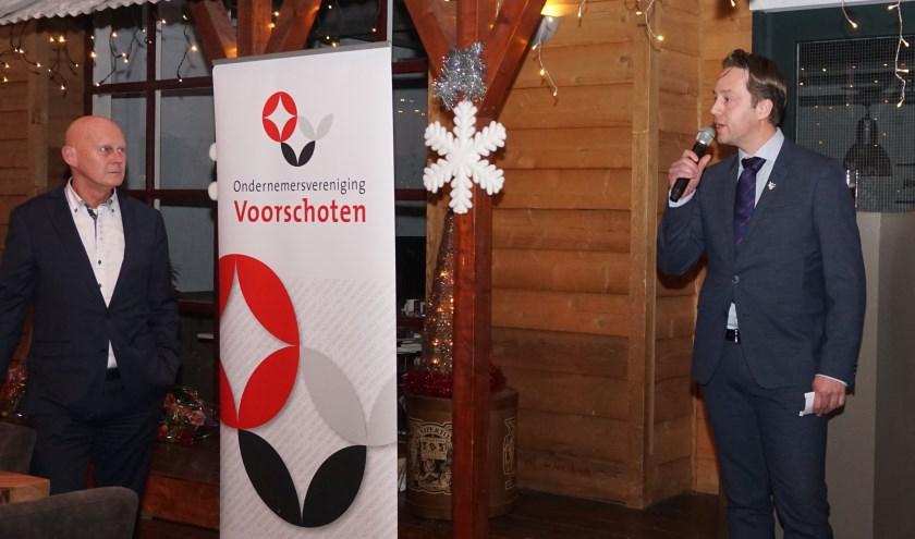 Wethouder Paul de Bruijn tijdens nieuwjaarsreceptie OVV: 'ondernemers belangrijk voor ons dorp'. Foto: Vsk