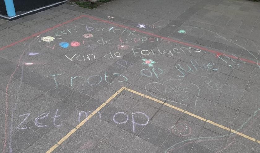 Een lieve groet van een ouder voor de leerkrachten van de Fortgensschool. Foto: Juf Conny van der Krogt