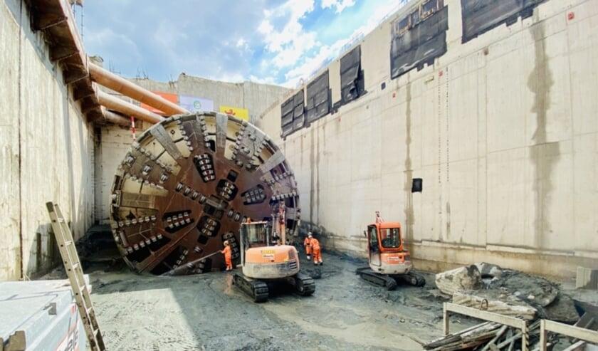 De werkzaamheden aan de tunnelboormachine zijn vertraagd. Foto: Rijnlandroute.nl