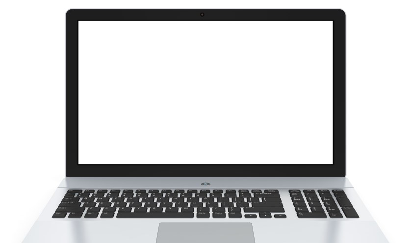 Modern metal office laptop or silver business notebook with blank screen isolated on white background with reflection effect