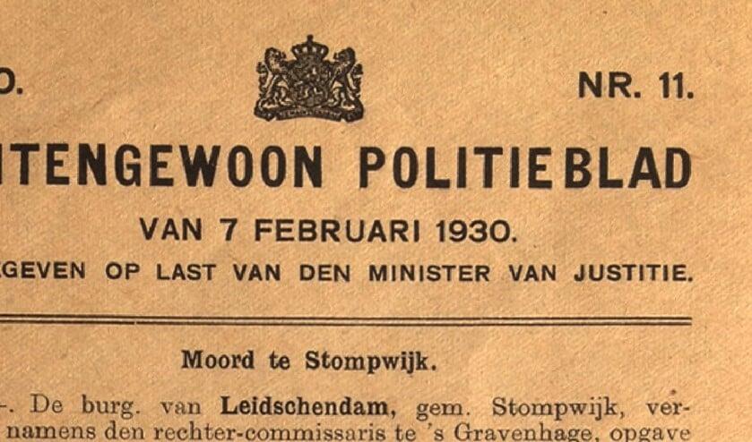 Kop van het Buitengewoon Politieblad van 7 februari 1930.