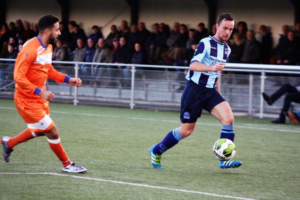 Hugo van Diepenbeek (Forum Sport) kreeg een publiekswissel voor zijn uitstekende spel (foto: AW).  © Het Krantje