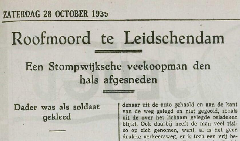 Krantenknipsel van de roofmoord op de Stompwijkse veehandelaar Cornelis Gijsbertus van der Horst.