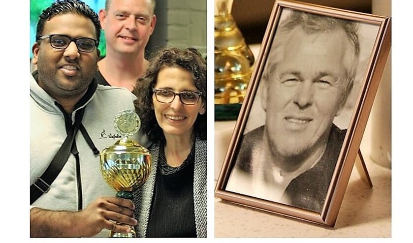 Devanand Sewkaransing (G1) met Gijs v. Wijk Cup, Karina en Gijs van Wijk (foto's: AW).