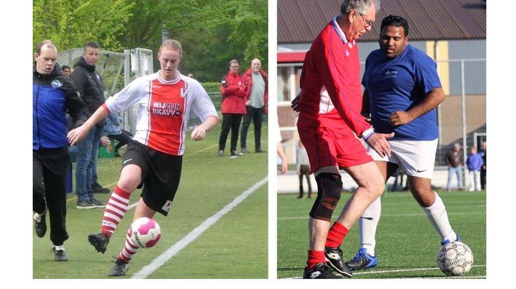 Jessie v. Leeuwen (RKAVV) scoorde 3x en Mink Kuyt (SEV WF) in duel met Devanand Sewkaransing (SEV G1) (foto's: Jack v.d. Hulst en AW).  © Het Krantje