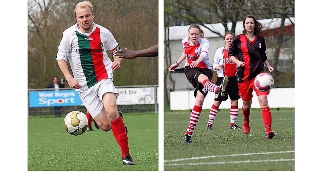 Nick Ammerlaan (Stompwijk'92) en Nina v.d. Hoeven (RKAVV Vrouwen) scoorden voor hun club (archieffoto's: AW).   © Het Krantje