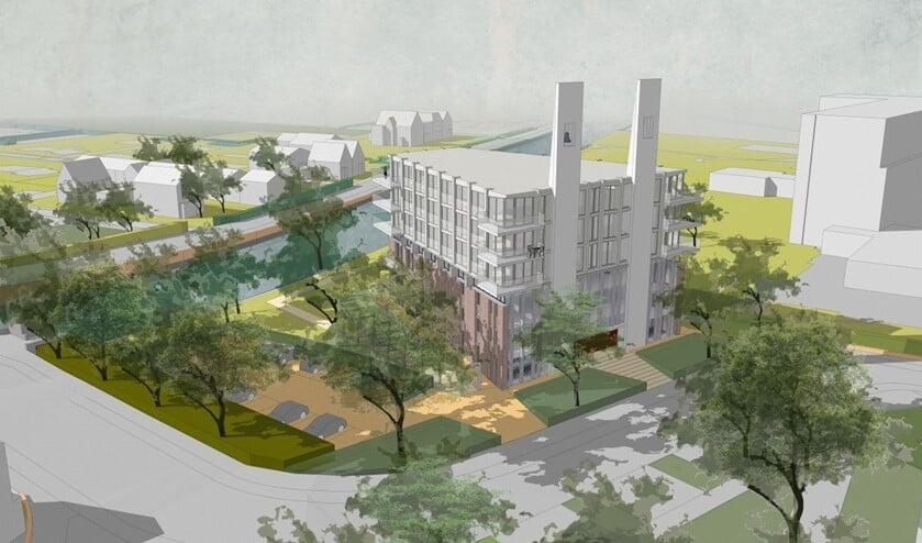 Het plan gaat uit van het 'optoppen' van het hoofdgebouw. Ter plekke wordt een zeslaags appartementengebouw gerealiseerd.