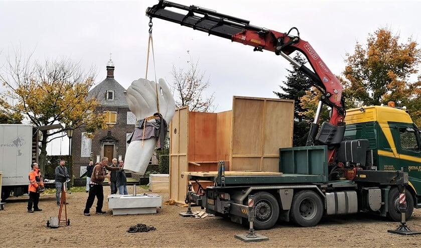 Het ontmantelen van de tentoonstelling op Huygens' Hofwijck(foto: pr).
