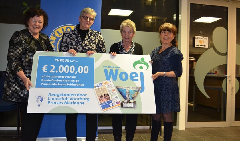 Willy Tiekstra en een trouwe vrijwilliger van WOeJ nemen de cheque in ontvangst (Foto's: Inge Koot)