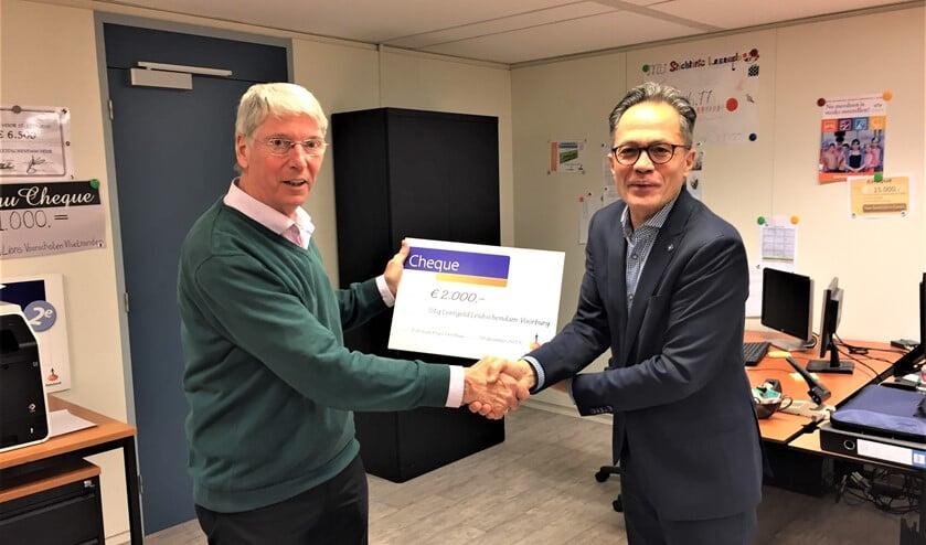 Ben van den Berg van de Rabobank Regio Den Haag (r.) overhandigt de cheque  aan Marcel Mooijman van de Stichting Leergeld (foto: pr).