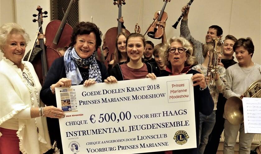 De overhandiging van de cheque door Marianne Knijnenburg aan Jannieke Bergkamp (foto: Lilian de Ruiter).