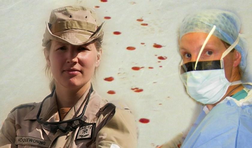 Maaike Hoogewoning uit Zoetermeer, zelf  veteraan en operatieassistent, draagt alle veteranen een warm hart toe. Cover van haar boek 'Oorlog in de operatiekamer'. Foto: pr