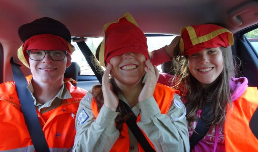Spotdropping: scouts die geblinddoekt en met de auto op verschillende plekken worden gedropt. Foto: pr