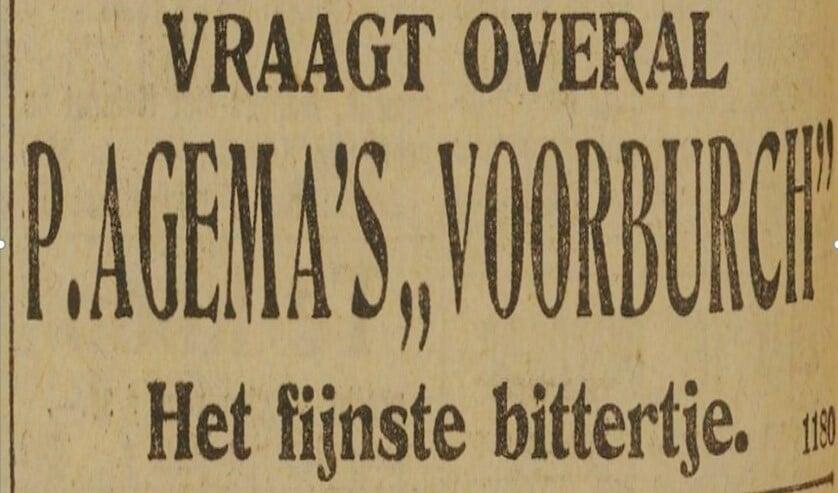 Advertentie uit 1919 voor P. Agema's 'Voorburch'. Het fijnste bittertje.