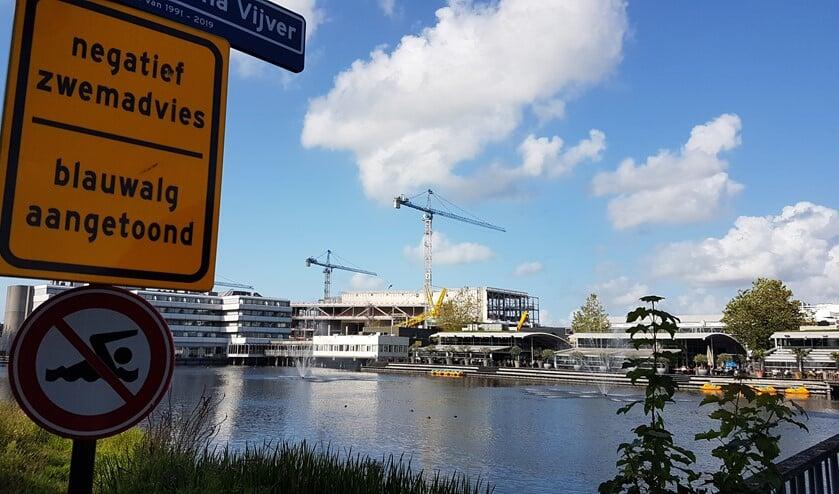 Aangezien borden waarschuwen voor blauwalg, leveren de  spuitende fonteinen bij Leidsenhage mogelijk gevaar op (foto: Leen van der Biessen).