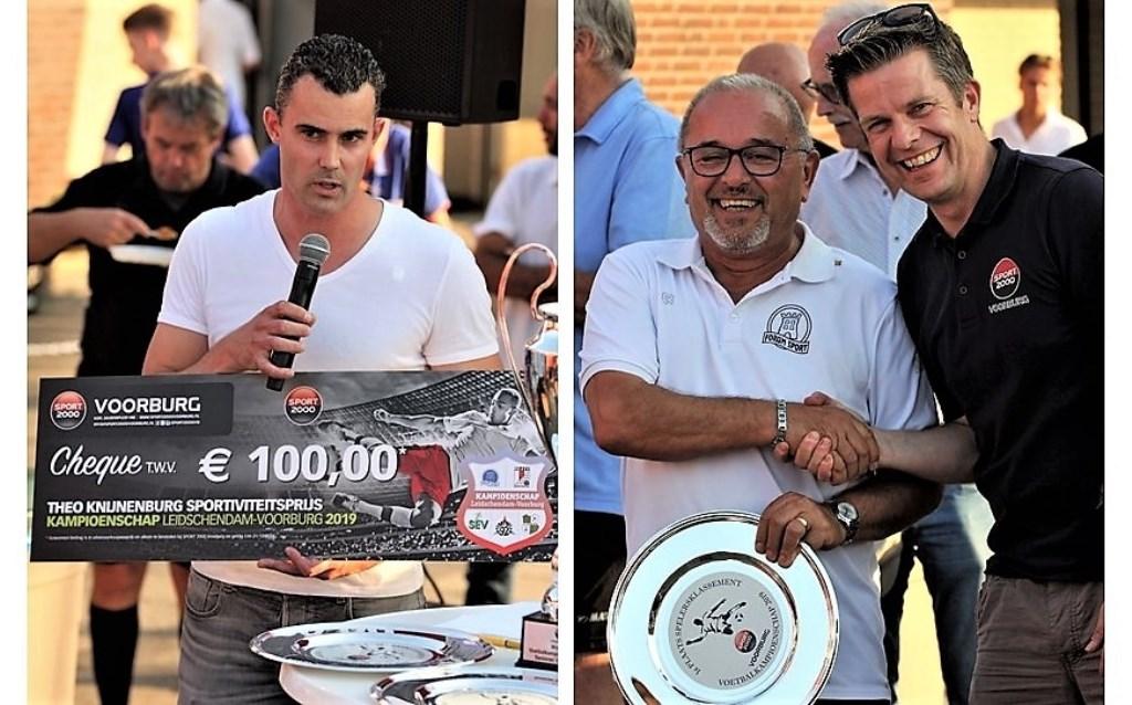 Frank Knijnenburg (links) en Ziya Gungor (namens Oalid Faik) met Marc Duijs (rechts).  © Het Krantje
