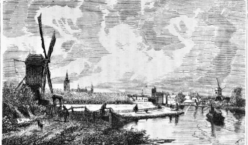 Trekvliet met links de Laakmolen en rechts de Boontjesmolen (anno 1735).