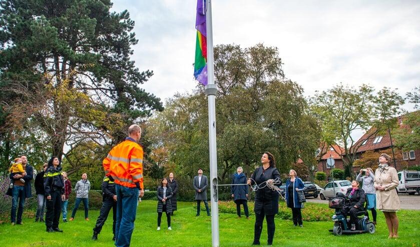 <p>Wethouder Stemerdink hees in het bijzijn van vertegenwoordigers van diverse organisaties de regenboogvlag op het gemeentehuis (foto: Barbara Koppe).</p>