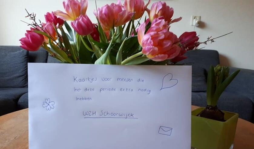 Voorbeeld van een kaartje dat door Irene Stevens is gestuurd aan WZH Schoorwijck.