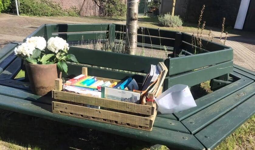 Een plant om de kamer op te fleuren en een kistje met boeken en puzzels om de tijd door te komen.