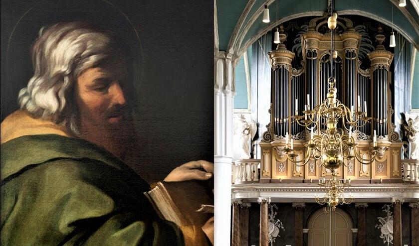 Apostelportret en Bätzorgel in De Oude Kerk (foto's:C. Groeneveld en H. Houtman).