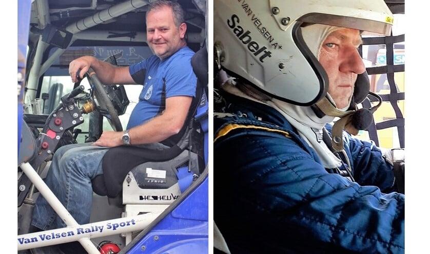 Aad van Velsen in zijn rallytruck, door hem liefkozend 'het Blauwe Schatje' genoemd (foto's: pr Van Velsen Rally Sport).