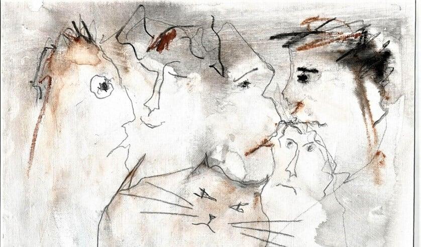 Tina van Krogten tekent alleen met een snel neergezette lijn en enkele kleuraccenten.