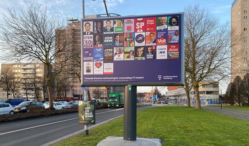 Verkiezingsbord op de Prins Bernhardlaan in Voorburg (foto: Michel Groen).