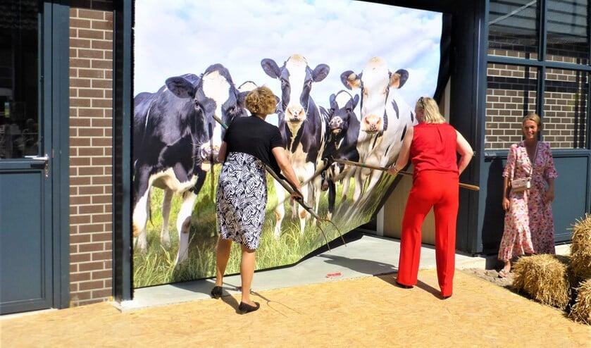 <p>Gedeputeerde Willy de Zoete en wethouder Astrid van Eekelen jaagden de koeien opzij voor de tentoonstelling in stal de Barn (foto: pr).</p>