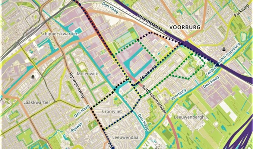 <p>Kaartje met de trac&eacute;s van het openbaar vervoer van en naar het CID Binckhorst, onder meer ook naar en door Voorburg (illustratie: gemeente LV).</p>