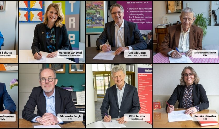 Wethouder Margreet van Driel ondertekent het convenant met haar collega's