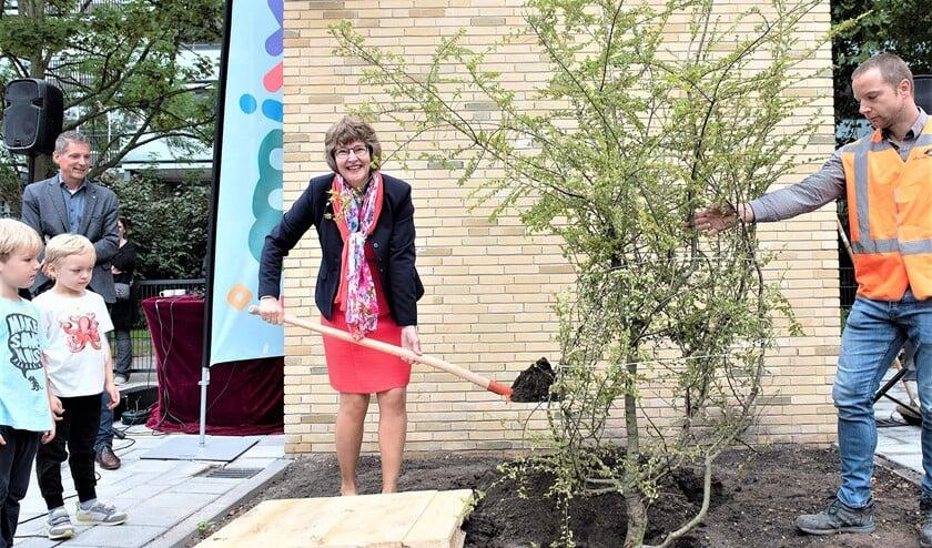 <p>Wethouder Juliette Bouw plant een boom als aandenken aan de opening van Kindcentrum MMiXX aan De Tol (foto: Michel Groen).</p>