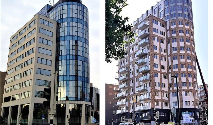 <p>Het Burgemeester Feithplein voor (l.) en na de transformatie van kantoren naar woningen (foto: pr).</p>