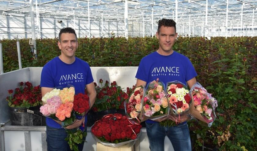 <p>(Links) Frank en (rechts) Robin, te midden van de prachtige rozen. </p>
