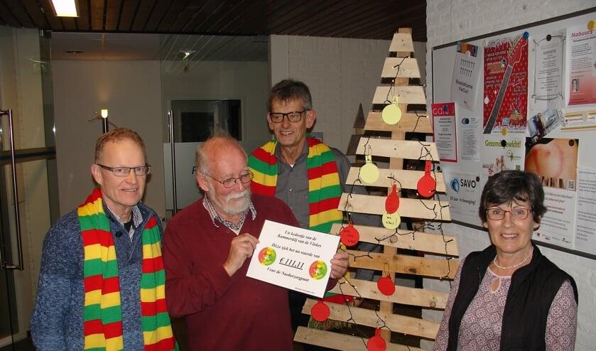Van links naar rechts op de foto:  Jan Koppes, Jan van Dijk, Jan Poels en Marriet Huppertz.