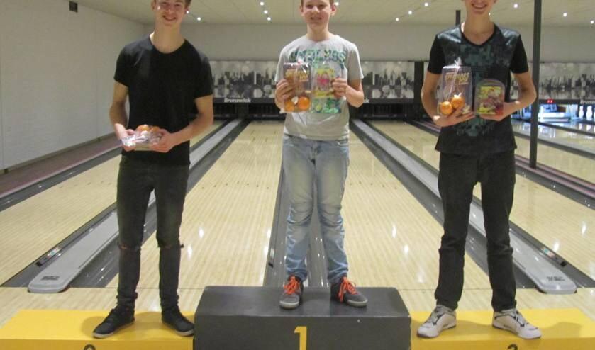 Sjoerd Jansen (2e), Giel van Gorp (1e) en Youri Vermeulen (3e).