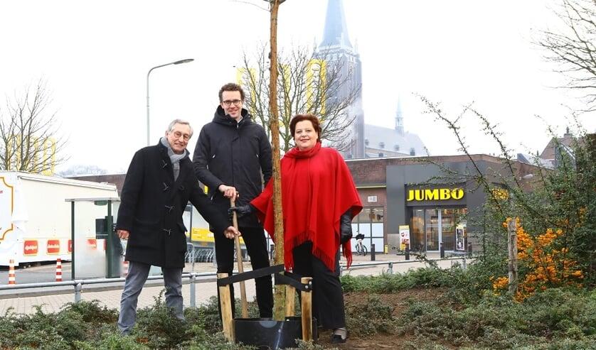 Aanplant van de honingboom bij Deken Thielenstraat 16 in Venray door Mart Wismans, voorzitter imkersvereniging regio Venray, wethouder Martijn van der Putten en Rabobank-directievoorzitter Angelique Jansen. Foto: Marcel Aerts.