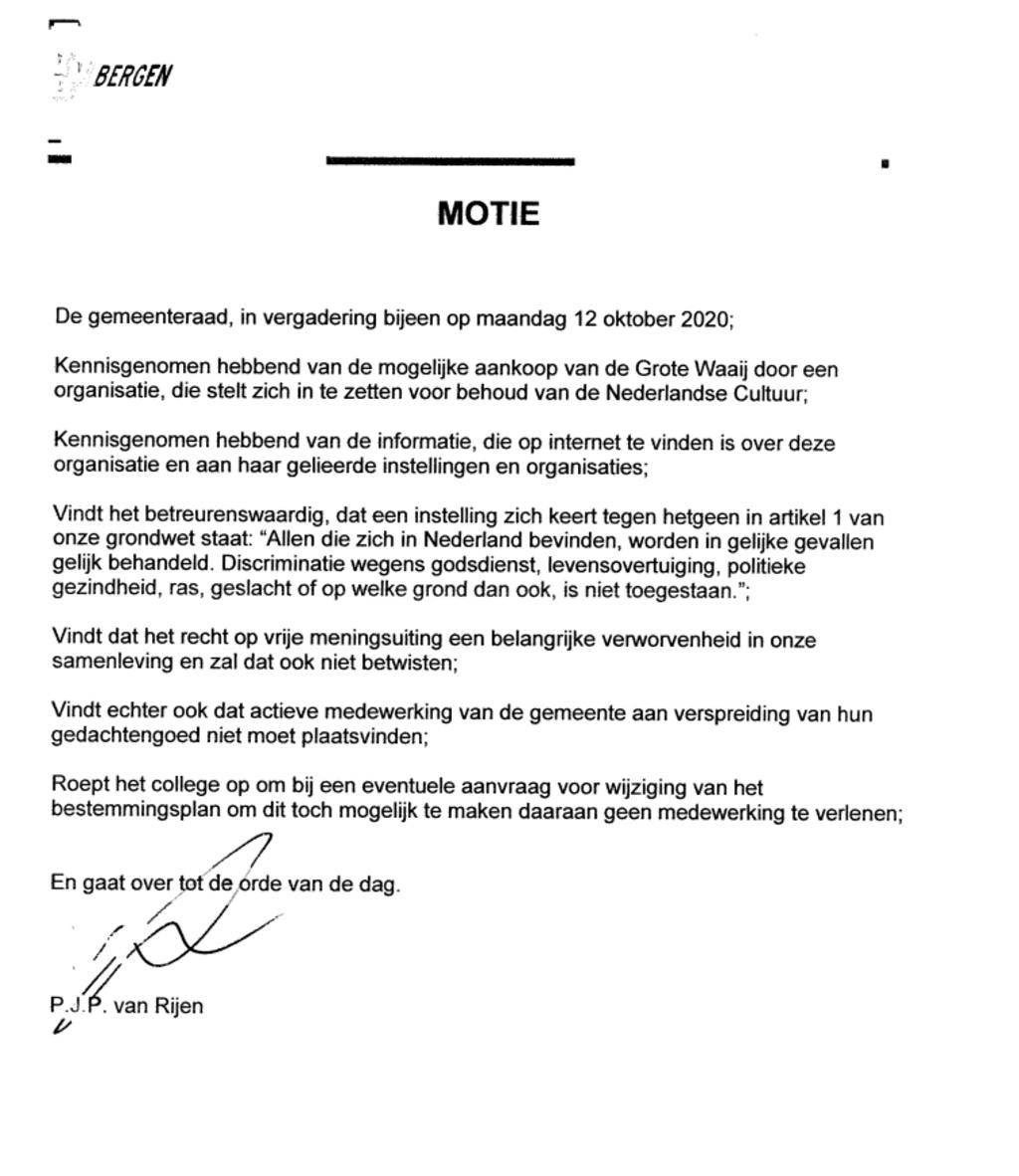 Motie VVD Foto: eigen © Maasduinencentraal