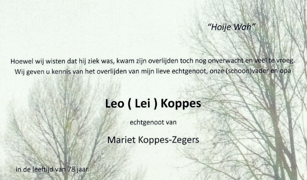 Leo Koppes is op 12 november 2020 overleden