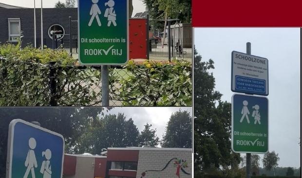 Waarschuwingsborden op schoolterreinen met duidelijke boodschap