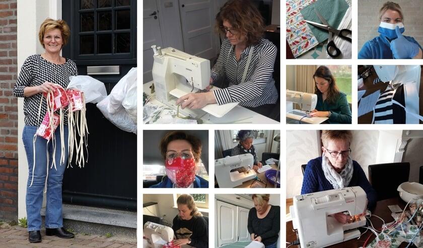 De mondmaskers en andere materialen worden dagelijks bij Monique Wijnhoven (uiterst links) in een plastic tas aan de deurklink gehangen.