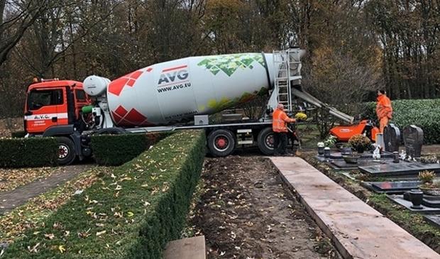 <p>AVG Heymix leverde circa 400 kub beton voor de wandelpaden</p>