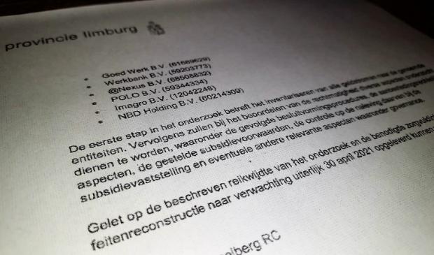 Onderzoek concerncontroller provincie Limburg
