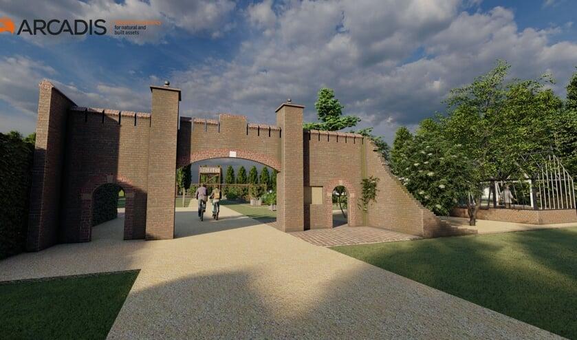 <p>De kasteelpoort met in de verte het nieuwe kasteel.</p>