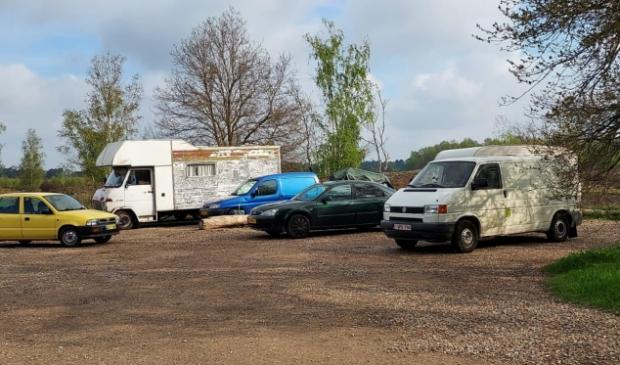 <p>Tijdelijk kampement aan de Ontginningsweg</p>