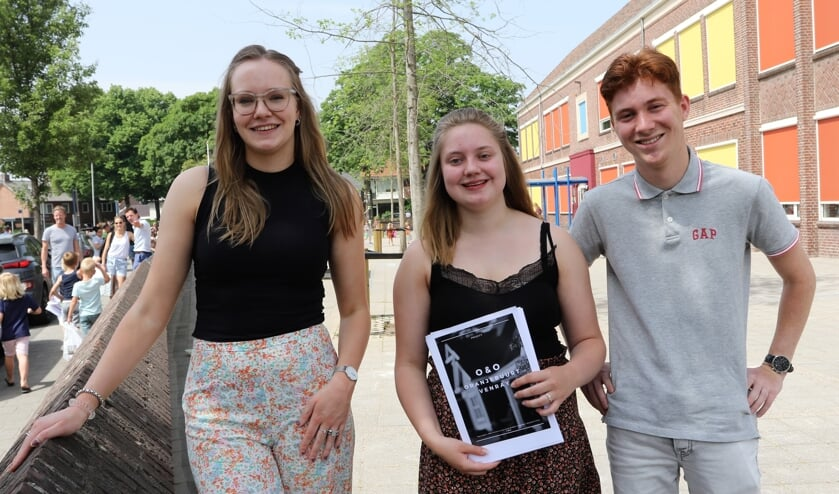 <p>Vanaf links Lisa, Milou en Teun die een onderzoek deden in de Oranjebuurt.</p>