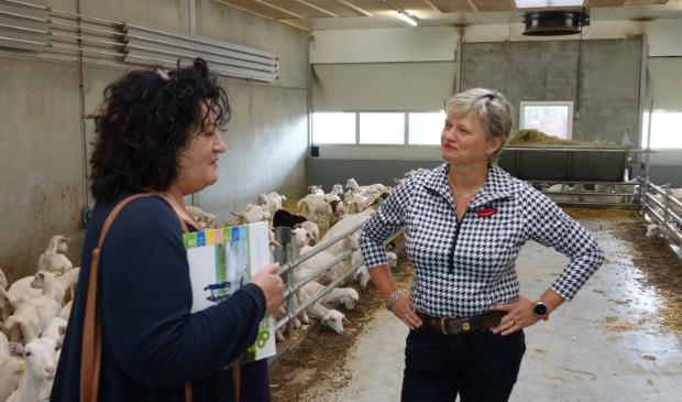 <p>Caroline van der Plas in gesprek met wethouder Janine van Hulsteijn</p>